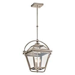 Kichler Antique Pewter Ryegate 3-Bulb Indoor Pendant With Lantern-Style Glass Shade