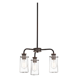 Kichler Bronze Single-Tier Mini Chandelier / Semi-Flush Ceiling Light With 3 Lights