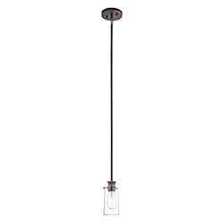 Kichler Olde Bronze Braelyn Single Light 5In. Wide Mini Pendant With Seedy Glass Shade