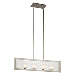 Kichler Brushed Nickel Rigate Single-Tier Linear Chandelier With 3 Lights