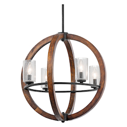 Kichler Auburn Grand Bank 4 Light 20In. Wide Chandelier With Seedy Glass Shades
