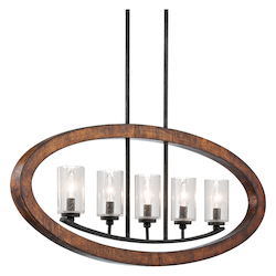 Kichler Kichler 43186Aub Auburn Grand Bank Single-Tier Linear Chandelier With 5 Lights