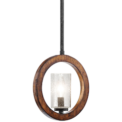 Kichler Auburn Grand Bank Single-Bulb Indoor Pendant With Cylindrical Glass Shade