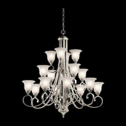Kichler Brushed Nickel Monroe 16 Light 45In. Wide Chandelier With Etched Glass Shades