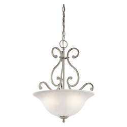 Kichler Brushed Nickel Camerena 3-Bulb Indoor Pendant With Bowl-Shaped Glass Shade