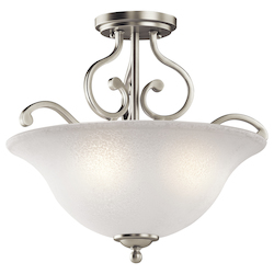 Kichler Brushed Nickel Camerena 3 Light Semi-Flush Indoor Ceiling Fixture