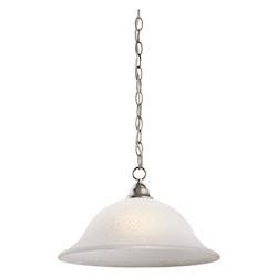Kichler Brushed Nickel Camerena Single-Bulb Indoor Pendant With Bowl-Shaped Glass Shade