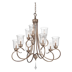 Kichler Brushed Silver And Gold Malina 2-Tier Candle-Style Chandelier With 3 Lights