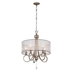 Kichler Brushed Silver And Gold Single-Tier Candle-Style Chandelier With 5 Lights
