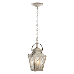 Kichler Antique White Hayman Bay 2-Bulb Indoor Pendant With Lantern-Style Glass Shade