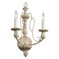 Kichler Kichler 43263Daw Distressed Antique White Hayman Bay 2 Light Wall Sconce