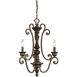 Kichler Terrene Bronze Mithras Single-Tier Candle-Style Chandelier With 3 Lights