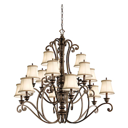 Kichler Terrene Bronze Mithras 3-Tier Candle-Style Chandelier With 15 Lights