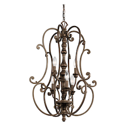 Kichler Terrene Bronze Mithras 2-Tier Candle-Style Chandelier With 6 Lights