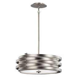 Kichler Brushed Nickel Roswell 3-Bulb Indoor Pendant With Round Metal Shade