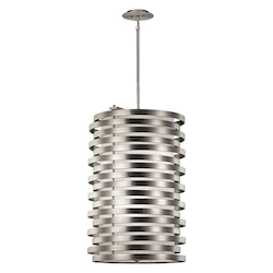Kichler Brushed Nickel Roswell 6-Bulb Indoor Pendant With Cylindrical Metal Shade