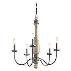 Kichler Distressed Antique Gray Evan Single-Tier Candle-Style Chandelier With 5 Lights