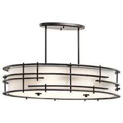 Kichler Olde Bronze Tremba 6-Bulb Indoor Pendant With Oval Fabric Shade