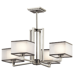 Kichler Kichler 43438Ni Brushed Nickel Kailey 1 Tier Chandelier With 4-Lights