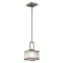 Kichler Brushed Nickel Kailey Single-Bulb Indoor Pendant With Square Fabric Shade