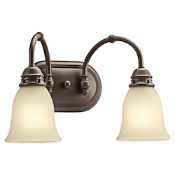 Kichler Olde Bronze 16In. Wide 2-Bulb Bathroom Lighting Fixture