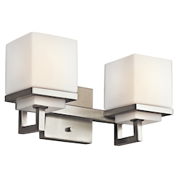 Kichler Brushed Nickel Metro Park 12.75In. Wide 2-Bulb Bathroom Lighting Fixture