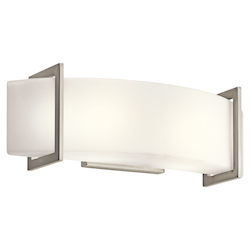 Kichler Brushed Nickel Crescent View 18In. Wide 2-Bulb Bathroom Lighting Fixture