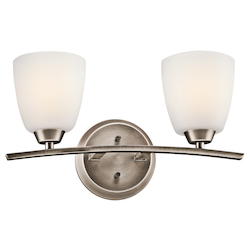 Kichler Brushed Pewter Granby 17.05In. Wide 2-Bulb Bathroom Lighting Fixture