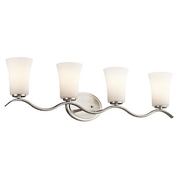 Kichler Brushed Nickel Armida 32.25In. Wide 4-Bulb Bathroom Lighting Fixture