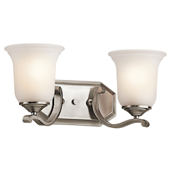 Kichler Classic Pewter Wellington Square 16In. Wide 2-Bulb Bathroom Lighting Fixture