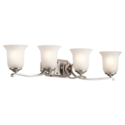 Kichler Classic Pewter Wellington Square 33In. Wide 4-Bulb Bathroom Lighting Fixture