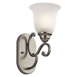 Kichler Brushed Nickel Camerena 6In. Wide Single-Bulb Bathroom Lighting Fixture