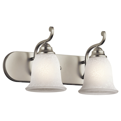 Kichler Brushed Nickel Camerena 18In. Wide 2-Bulb Bathroom Lighting Fixture