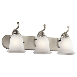 Kichler Brushed Nickel Camerena 24In. Wide 3-Bulb Bathroom Lighting Fixture