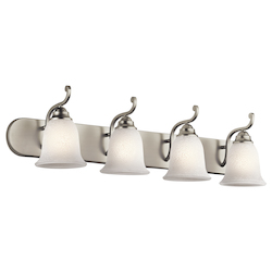 Kichler Brushed Nickel Camerena 36In. Wide 4-Bulb Bathroom Lighting Fixture