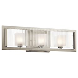 Kichler Brushed Nickel Rigate 23.25In. Wide 3-Bulb Bathroom Lighting Fixture