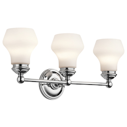 Kichler Chrome Currituck 23.25In. Wide 3-Bulb Bathroom Lighting Fixture
