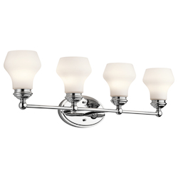 Kichler Chrome Currituck 32.25In. Wide 4-Bulb Bathroom Lighting Fixture
