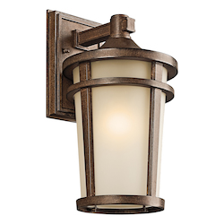 Kichler Brown Stone Atwood 1 Light 14In. Energy Efficient Fluorescent Outdoor Wall Light