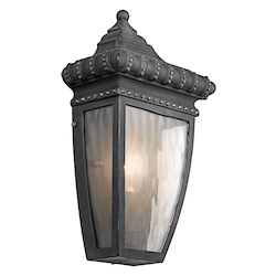 Kichler Black W/Gold Venetian Rain Collection 1 Light 12In. Outdoor Wall Light