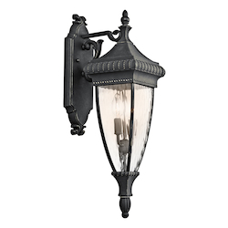 Kichler Black W/Gold Venetian Rain Collection 2 Light 25In. Outdoor Wall Light