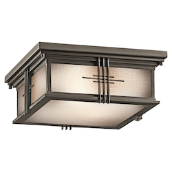 Kichler Olde Bronze Two Light Outdoor Ceiling Fixture From The Portman Square Collection