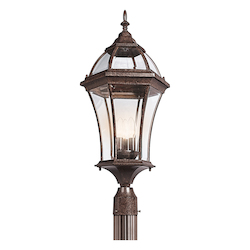 Kichler Tannery Bronze 3 Light Outdoor Post Light From The Townhouse Collection