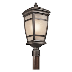 Kichler Rubbed Bronze 1 Light 10In. Outdoor Post Light From The Mcadams Collection