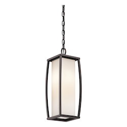 Kichler Architectural Bronze 2 Light Outdoor Pendant With Rectangular Cased Opal Shade