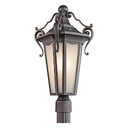 Kichler Rubbed Bronze 1 Light Outdoor Post Light From The Nob Hill Collection