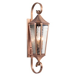 Kichler Antique Copper Rochdale Collection 4 Light 40In. Outdoor Wall Light