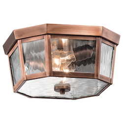 Kichler Antique Copper Rochdale 2-Bulb Semi-Flush Outdoor Ceiling Fixture
