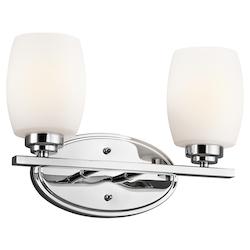 Kichler Chrome 14.5In. Wide 2-Bulb Bathroom Lighting Fixture