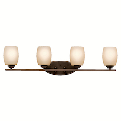 Kichler Olde Bronze 34In. Wide 4-Bulb Bathroom Lighting Fixture